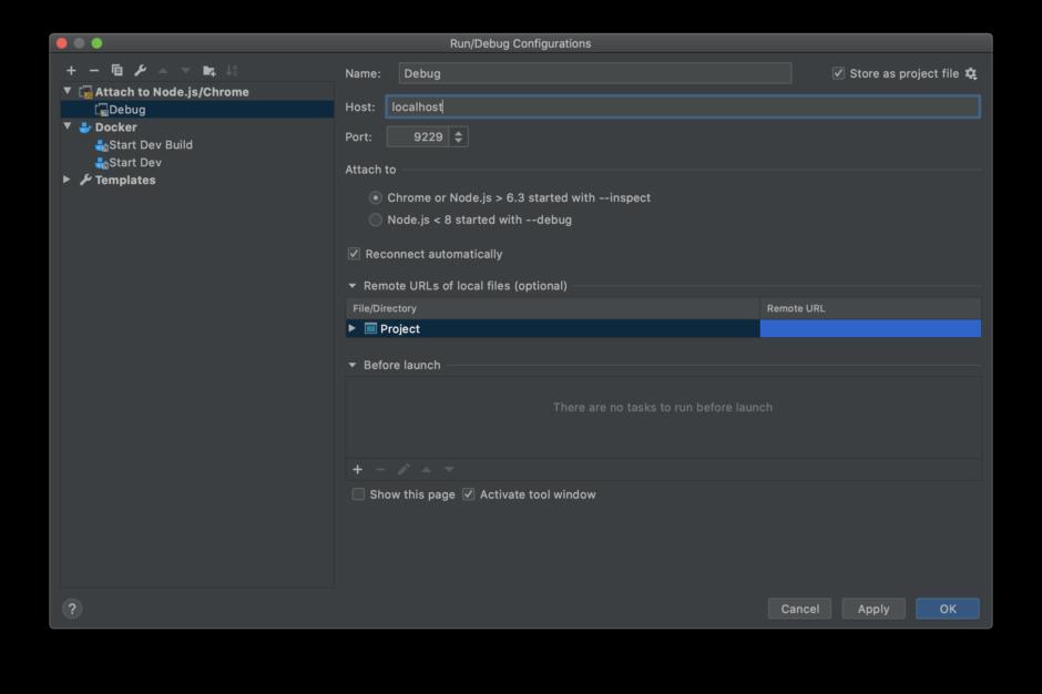 "WebStorm ""Run/Debug Configurations"" Window"